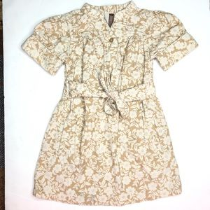 OLD NAVY Tan White Floral Tie Front Corduroy Dress